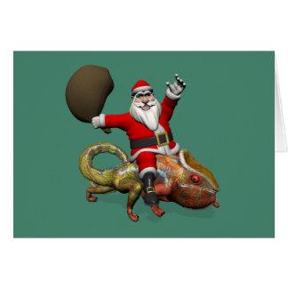 Funny Santa Claus On Huge Panther Chameleon Card