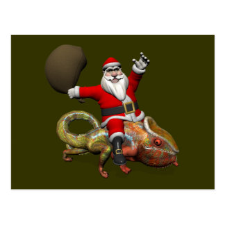 Funny Santa Claus On Huge Panther Chameleon Postcard