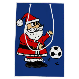 Funny Santa Claus Playing Soccer Gift Bag