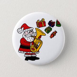 Funny Santa Claus Playing Tuba Christmas Art 6 Cm Round Badge