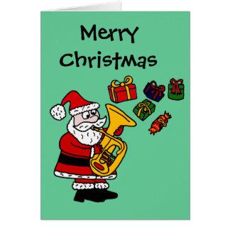 Funny Santa Claus Playing Tuba Christmas Art Card