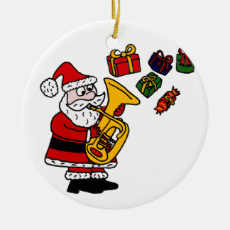Funny Santa Claus Playing Tuba Christmas Art Christmas Ornament