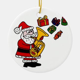 Funny Santa Claus Playing Tuba Christmas Art Round Ceramic Decoration