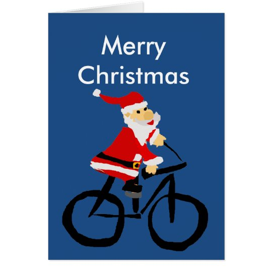 Funny Santa Claus Riding Bicycle Christmas Art Card