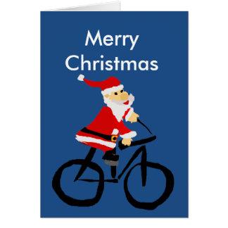 Funny Santa Claus Riding Bicycle Christmas Art Greeting Card