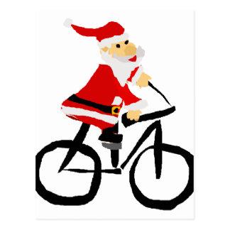 Funny Santa Claus Riding Bicycle Christmas Art Postcard