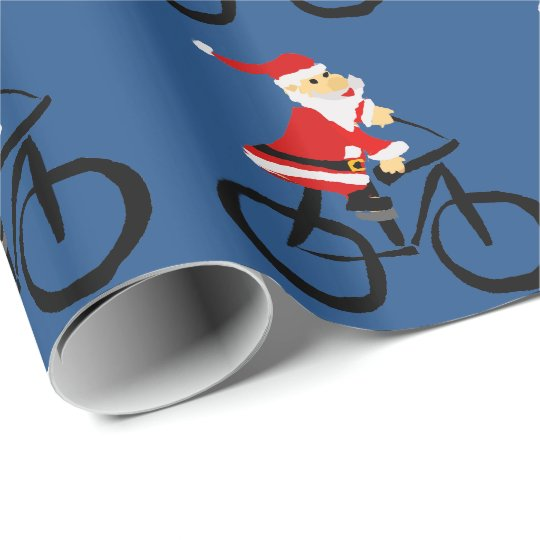 Funny Santa Claus Riding Bicycle Christmas Art Wrapping