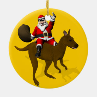 Funny Santa Claus Riding On Kangaroo Christmas Ornament