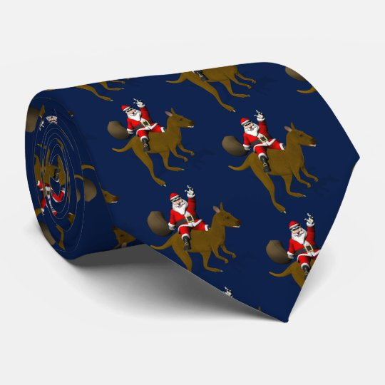Funny Santa Claus Riding On Kangaroo Tie