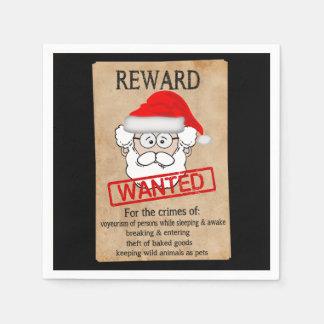 Funny Santa Claus Wanted Poster Disposable Napkin