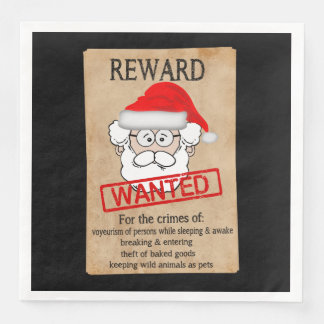 Funny Santa Claus Wanted Poster Disposable Napkins