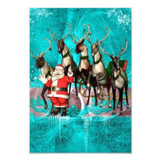 Funny Santa Claus wirh reindeer 9 Cm X 13 Cm Invitation Card