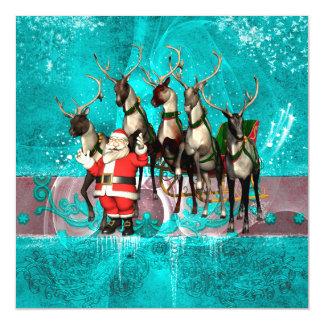 Funny Santa Claus wirh reindeer Magnetic Invitations