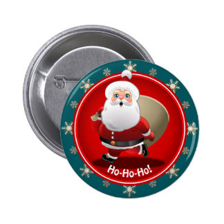 Funny Santa Claus With A Sack Full Of Gifts 6 Cm Round Badge