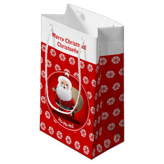 Funny Santa Claus With A Sack Full Of Gifts Small Gift Bag