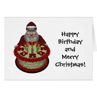 Funny Santa Claus With Birthday Cake Greeting Card