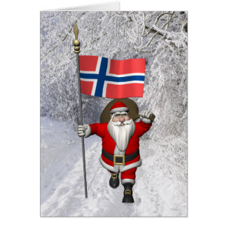 Funny Santa Claus With Flag Of Norway Card