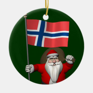 Funny Santa Claus With Flag Of Norway Round Ceramic Decoration