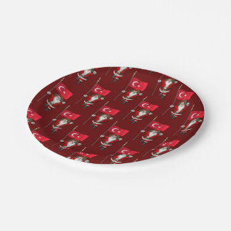 Funny Santa Claus With Flag Of Turkey 7 Inch Paper Plate