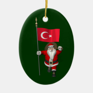Funny Santa Claus With Flag Of Turkey Christmas Ornament