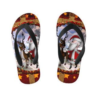 Funny Santa Claus with reindeer Flip Flops