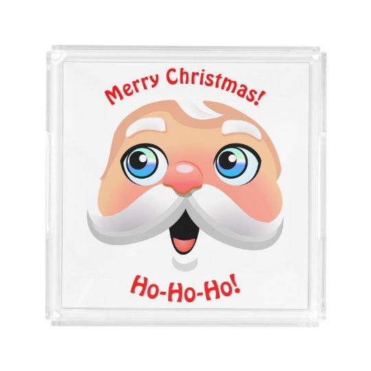 Funny Santa Claus With Rosy Cheeks Acrylic Tray