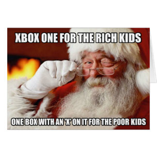 Funny Santa Claus Xbox one meme Greeting Card