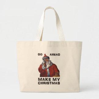 Funny Santa Clause aiming gun - make my Christmas! Tote Bag