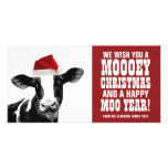 Funny Santa Cow Mooey Christmas Dairy Farm Photo Greeting Card