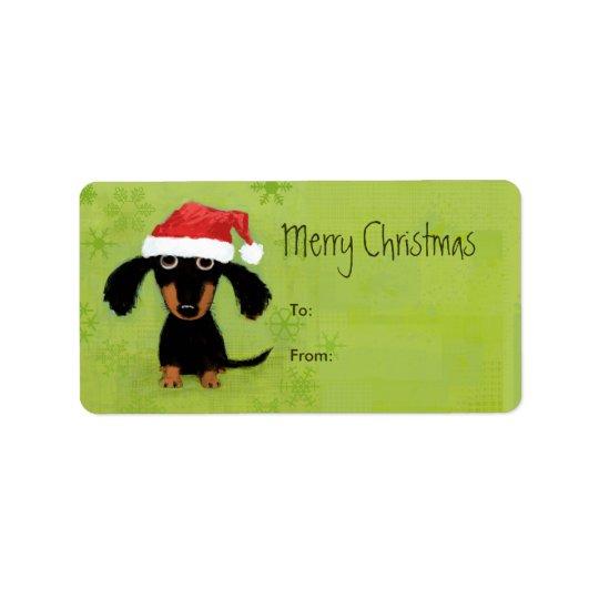 Funny Santa Dachshund Christmas Address Label