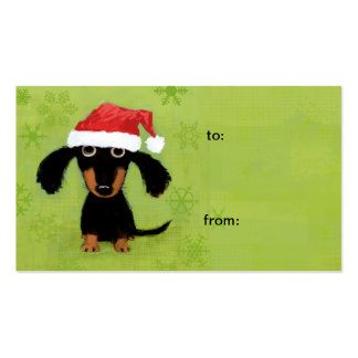 Funny Santa Dachshund Christmas Gift Tags Pack Of Standard Business Cards