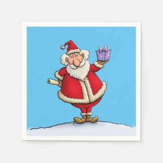 funny santa gift delivery christmas cartoon paper serviettes