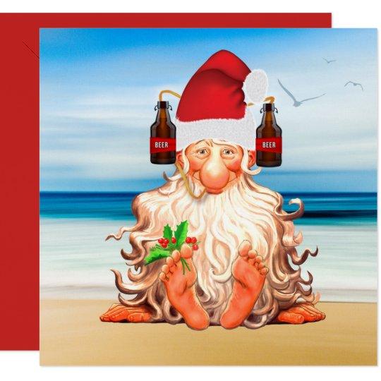 Funny Santa Gnome in a Beer Santa Hat