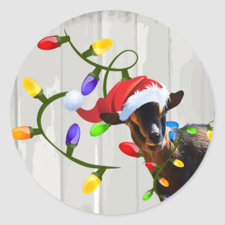 Funny Santa Goat and Christmas Lights Round Sticker