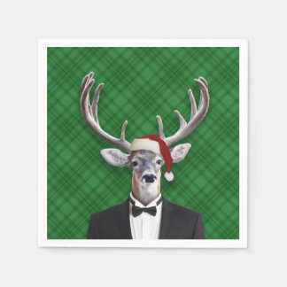 Funny Santa Hat Christmas Deer Green Plaid Disposable Napkin