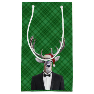Funny Santa Hat Christmas Deer Green Plaid Small Gift Bag