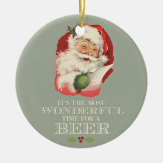 Funny Santa Most Wonderful Time For A Beer Photo Christmas Ornament