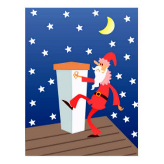 Funny Santa On The Roof Postcard