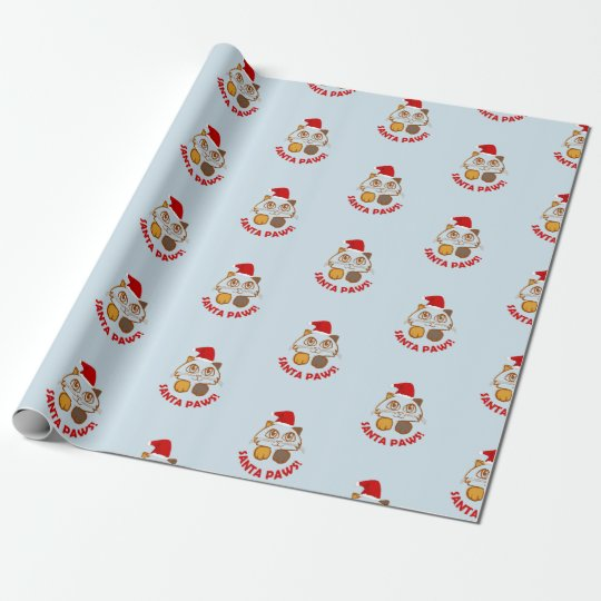 Funny 'Santa Paws' cat christmas Wrapping Paper