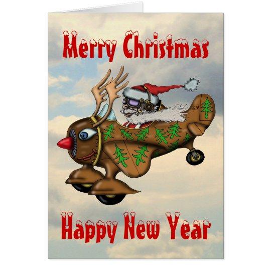 Funny Santa pilot Christmas and New Year card