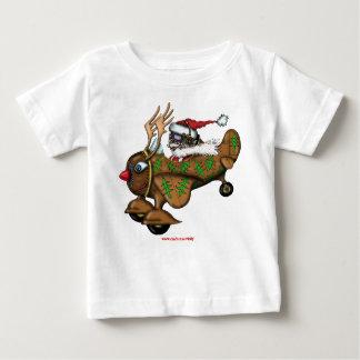 Funny Santa pilot on Rudolph plane baby t-shirt