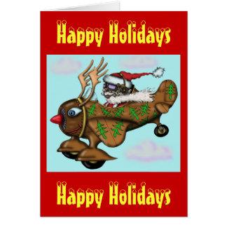 Funny Santa pilot on Rudolph plane Christmas card