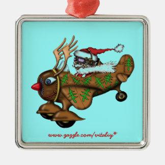 Funny Santa pilot on Rudolph plane ornament