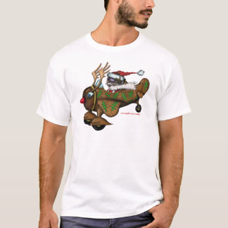Funny Santa pilot on Rudolph plane t-shirt design