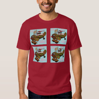 Funny Santa pilot on Rudolph plane t-shirt design