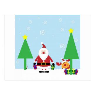 Funny Santa & Reindeer Postcard