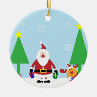 Funny Santa & Reindeer Round Ceramic Decoration