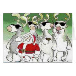 Funny Santa Secret Service Reindeer Christmas Card
