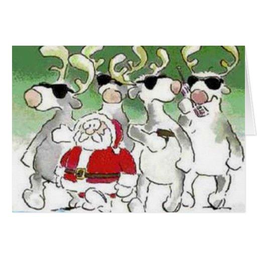 Funny Santa Secret Service Reindeer Christmas Card Cards