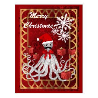 Funny Santa vintage steampunk Christmas octopus Postcard